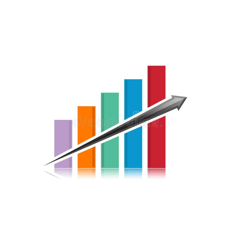 Business finance logo vector template. Business finance logo template - vector concept illustration. Economic infographic sign. Arrows and infograph bar. Growth stock illustration