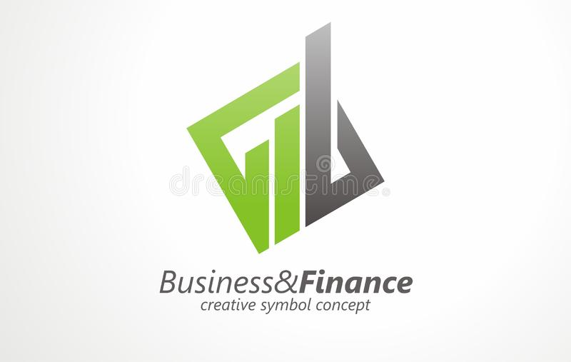 Business & finance logo vector design concept. Economy success chart bar icon or real estate sign or symbol. stock illustration