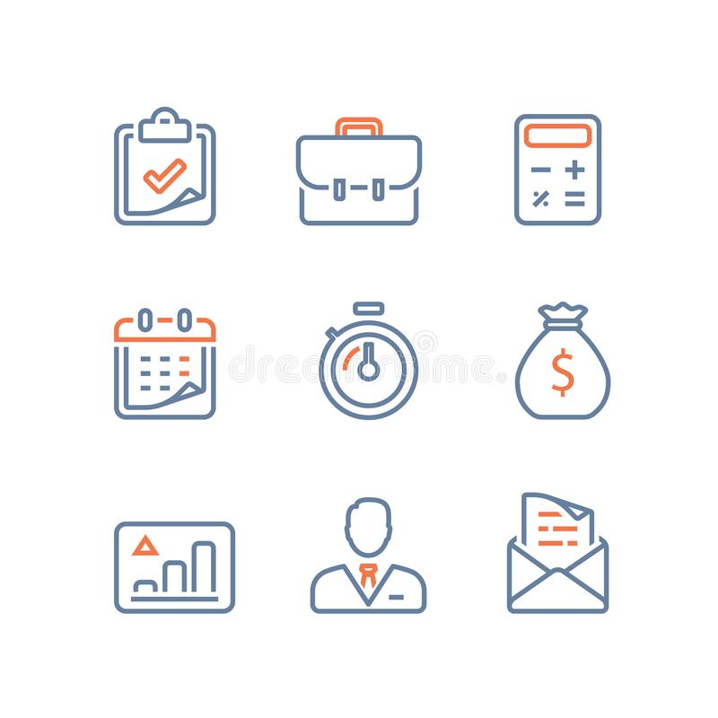 Business and finance, long term invest portfolio, revenue growth, stock market performance report, budget and account service. Business and finance line icon royalty free illustration