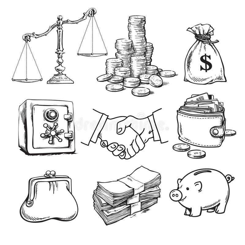 Business finance money set. Scales, stack of coins, sack of dollars, credit card, handshake, paper money, purse. wallet stock illustration