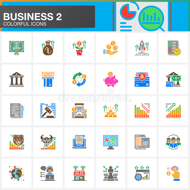 Business, finance, money vector icons set, modern solid symbol collection, filled colorful pictogram pack. Signs, logo illustratio. N. Set includes icons as bank vector illustration