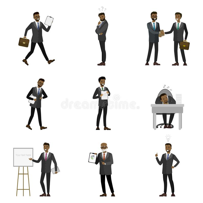Cartoon African American Businessman Characters stock illustration