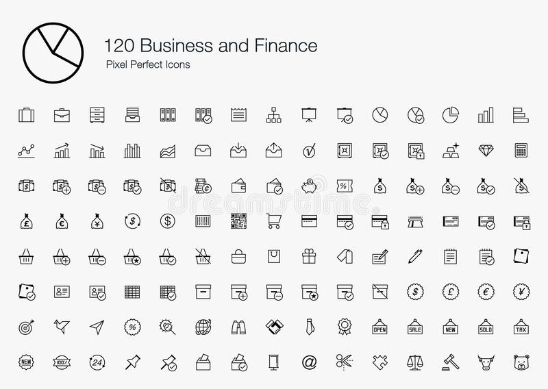120 Business Finance Pixel Perfect Icons (line style). These Business and Finance icons are suitable for applications that are related to stock market vector illustration