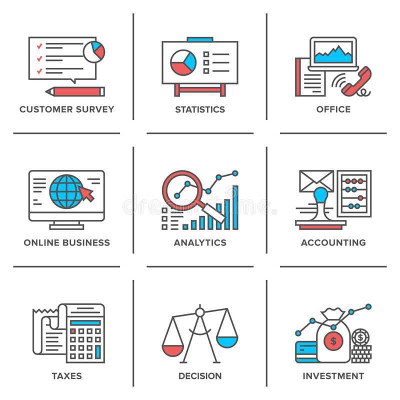 Business and finance routine line icons set royalty free illustration