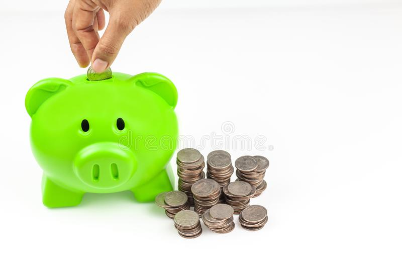 Business or finance saving concept with hand putting coin into blue piggy bank. With stack of coins beside on white background with copy space stock photos