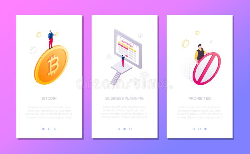 Business and finance - set of isometric vector vertical web banners stock illustration