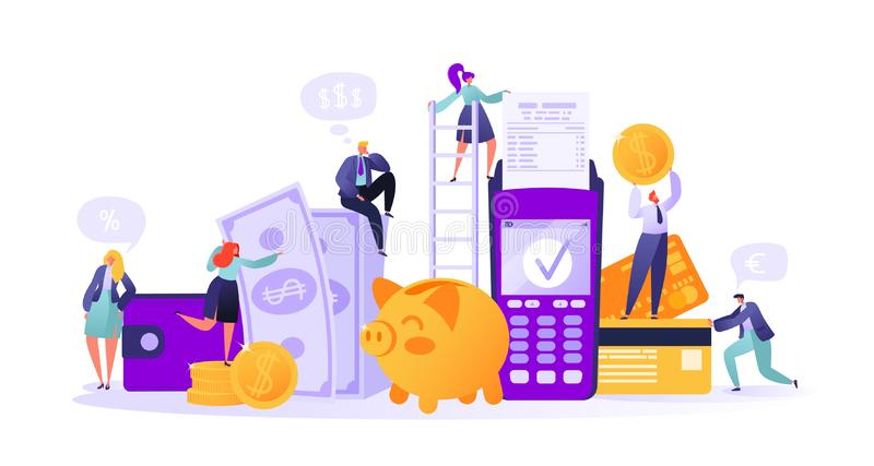 Business and finance theme. Concept of online banking, money transaction technology. Credit card and payment terminal. Business people pay coins cash. Flat vector illustration