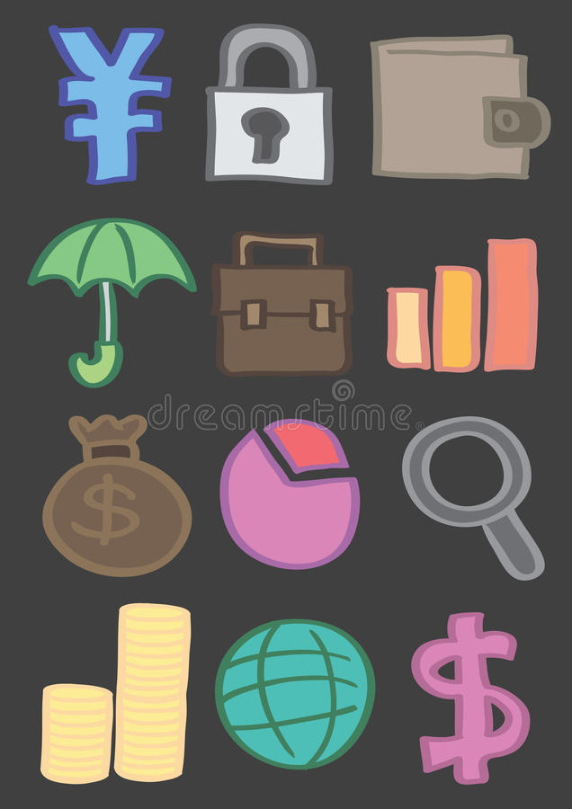 Business and Finance Vector Icon Set in Color royalty free illustration