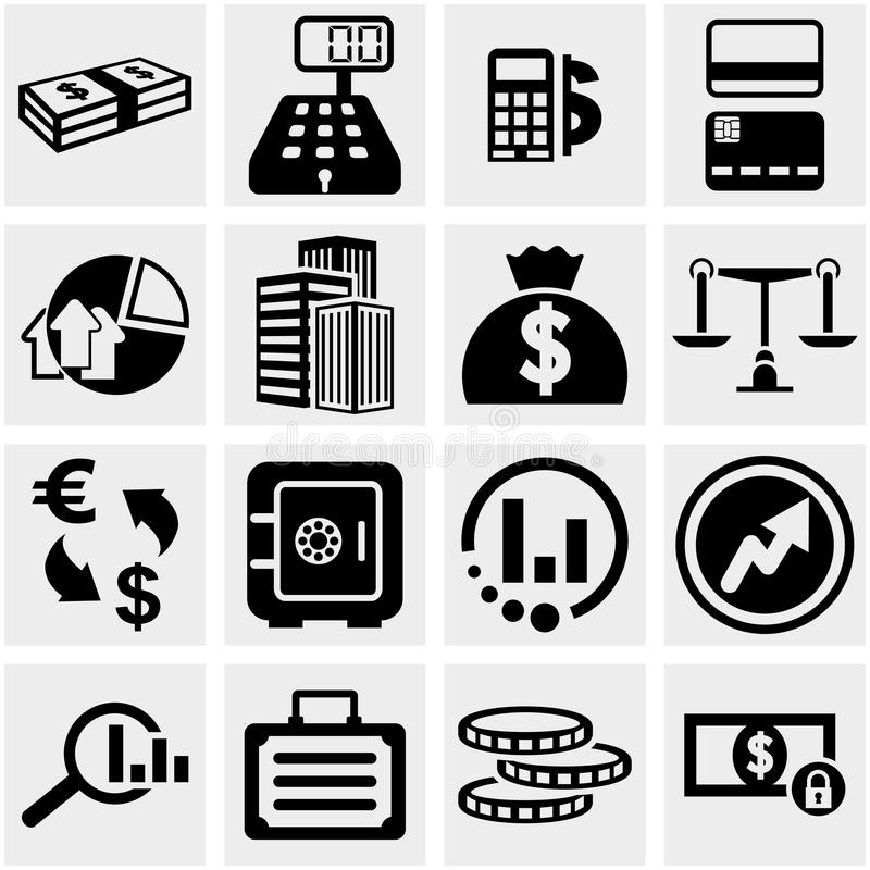 Download Business & Finance Vector Icons Set On Gray. Stock Image - Image: 33947815