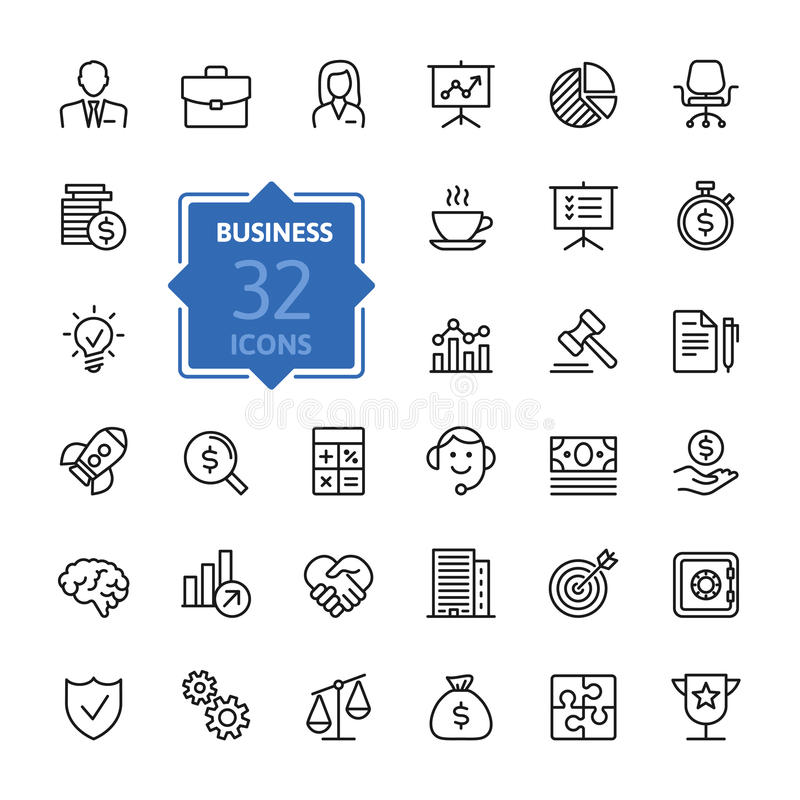 Business and finance web icon set - outline icon collection, vector vector illustration