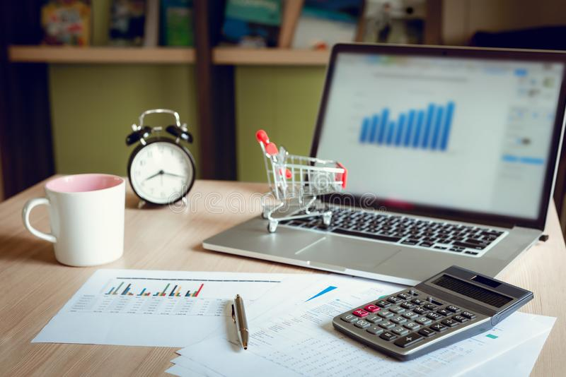 Business financial analyzing and planning calculation for investment on table desktop., Accounting tax document information for. Balancing budget and profit royalty free stock images