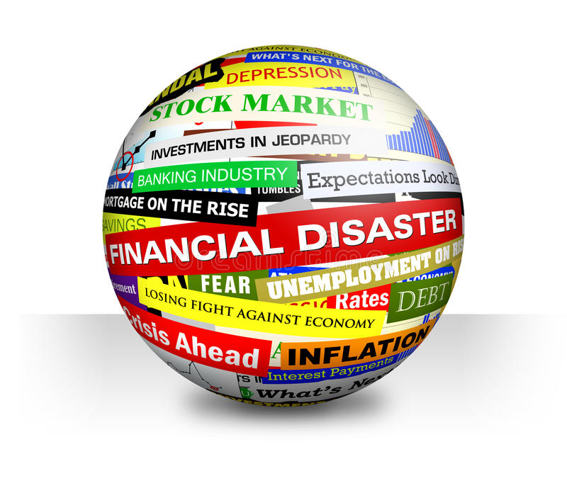 Business Financial Bad Economy Headlines. A 3d ball on a white, isolated background with economy, money and financial headlines vector illustration
