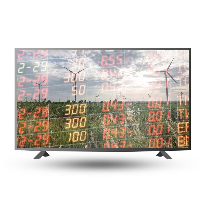 Business financial concept with double exposure of stock chart m. Arket investment trading on 4K monitor TV royalty free stock photos