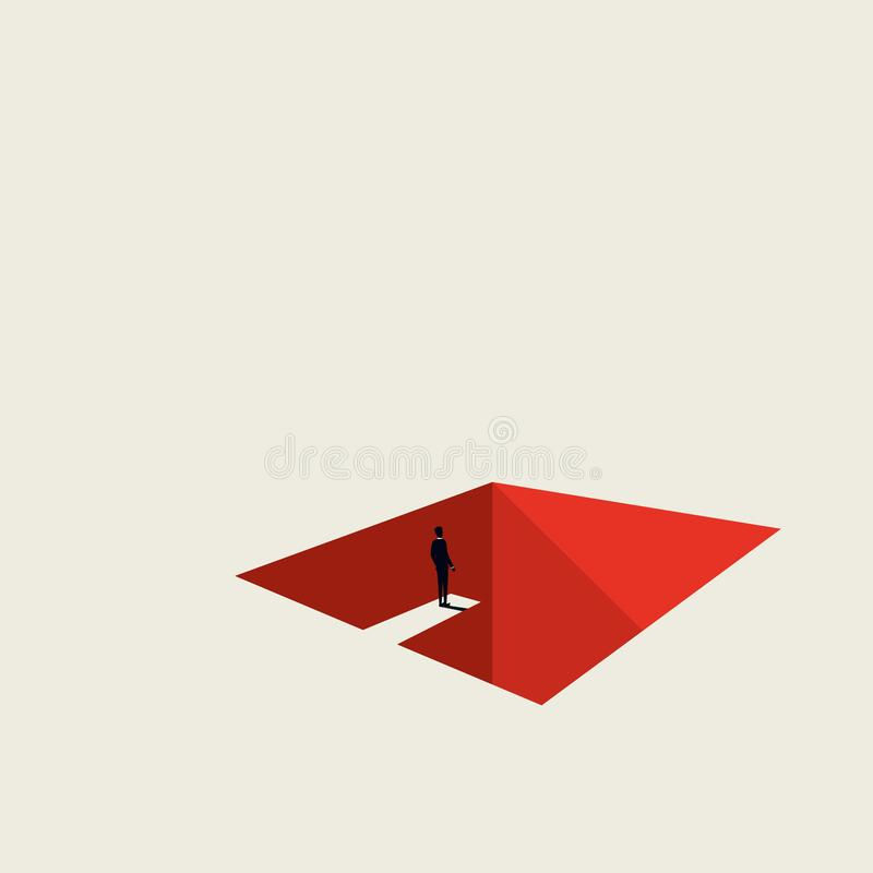 Business and financial crisis vector concept in miminalist art style. Businessman jumping into hole. Symbol of recession royalty free illustration