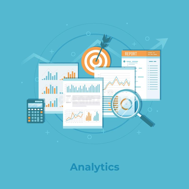 Business financial data analytics. Analysis, statistics, audit reporting. Documents with graphs, charts. Business vector vector illustration