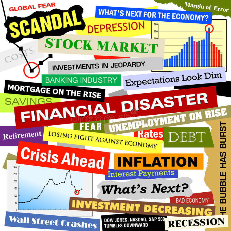 Business Financial Disaster Bad Economy Headlines. Headlines of the bad business economy and economic disaster cutouts in various fonts and colors. There are