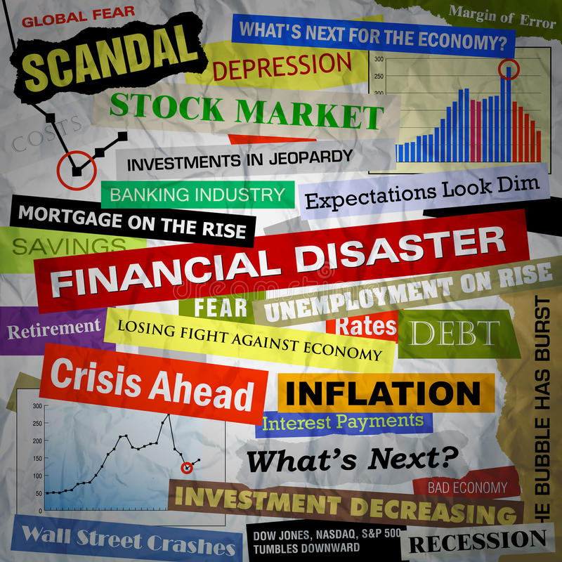 Business Financial Disaster Headlines. Headlines of the bad business economy and economic disaster cutouts in various fonts and colors. There are also some stock illustration