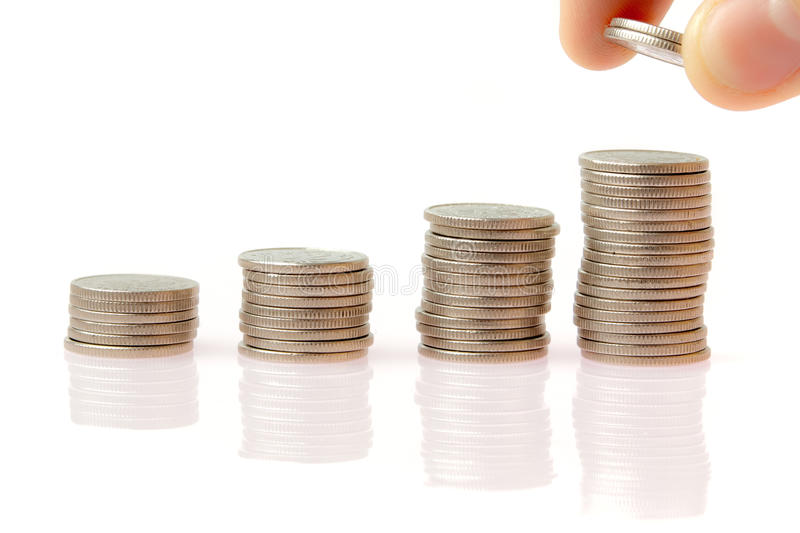 Business financial environment - coin graph royalty free stock photo