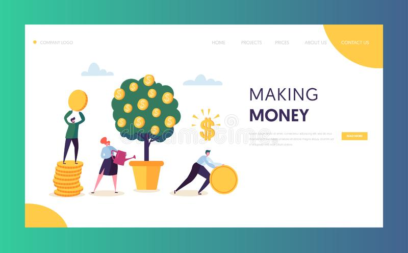 Business Financial Growth Capital Website Template. Woman Watering Money Tree. Character Team Collecting Golden Coins. Money Profit, Income Concept for Landing vector illustration