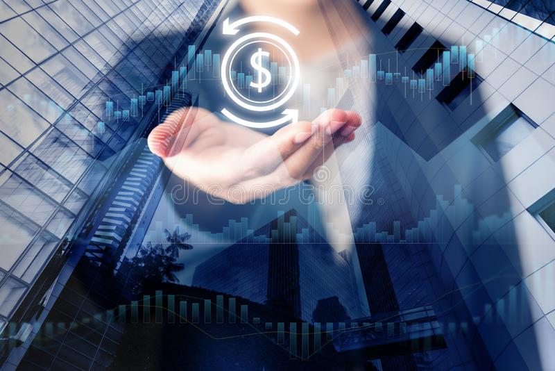 Business Financial Investment and Stock Market Concept, Stock Exchange Chart for Information Investing. Double Exposure of. Businesswoman Holding Dollar Money royalty free stock photos