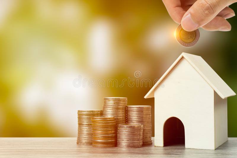 Business and financial property concept for home loan, mortgage, saving and investment stock images