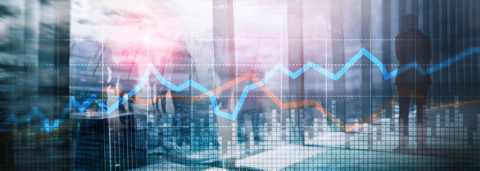 Business Financial Trading Investment concept graph virtual screen double exposure. royalty free stock images