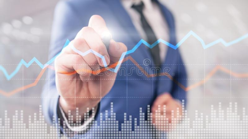 Business Financial Trading Investment concept graph virtual screen double exposure. Business Financial Trading Investment concept graph virtual screen double royalty free stock photo