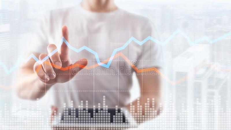 Business Financial Trading Investment concept graph virtual screen double exposure. Business Financial Trading Investment concept graph virtual screen double stock photo