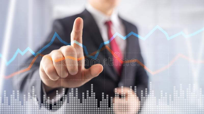 Business Financial Trading Investment concept graph virtual screen double exposure. Business Financial Trading Investment concept graph virtual screen double stock photos