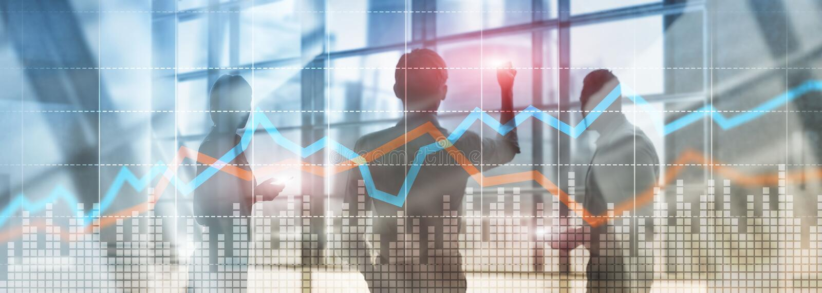 Business Financial Trading Investment concept graph virtual screen double exposure.  stock photography