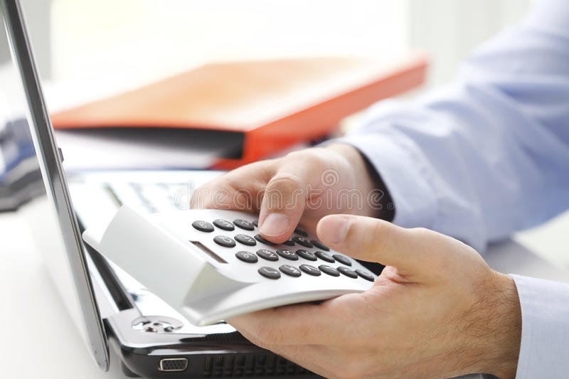 Business financier working at bank stock photography