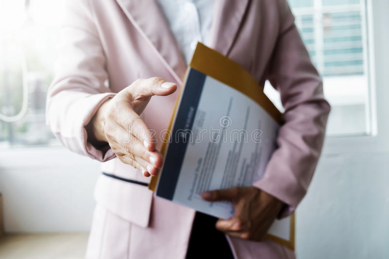 Business find new job and interview the job. Open handshake and stock image