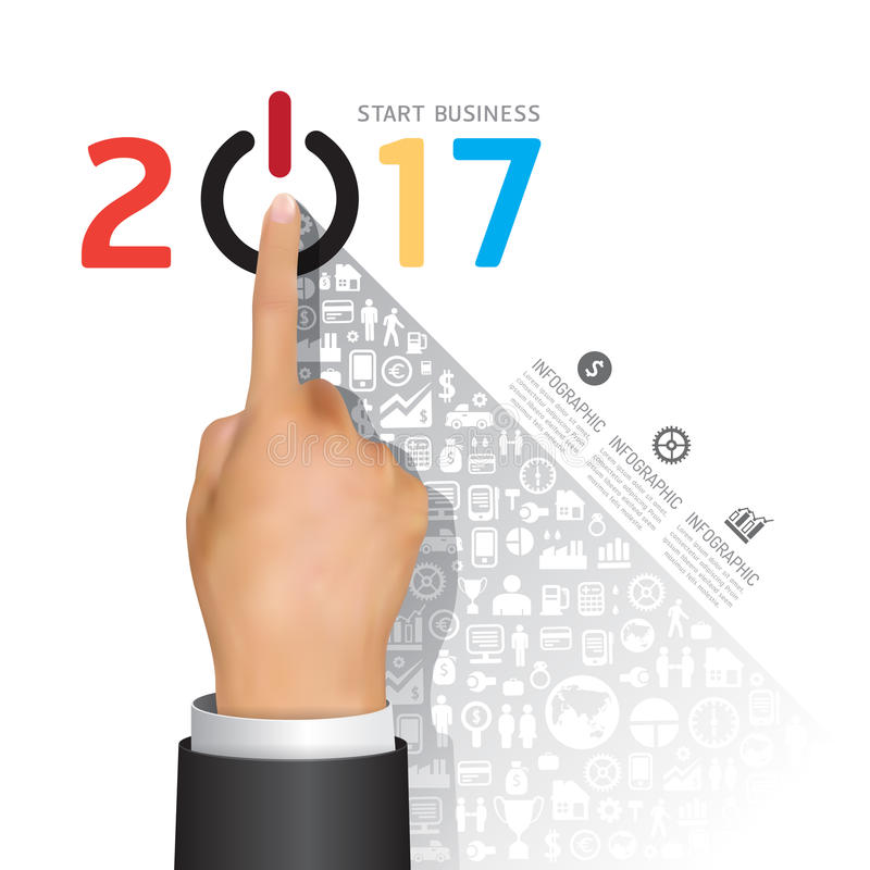 Business 2017 finger touch success concept. Abstract elements of royalty free illustration