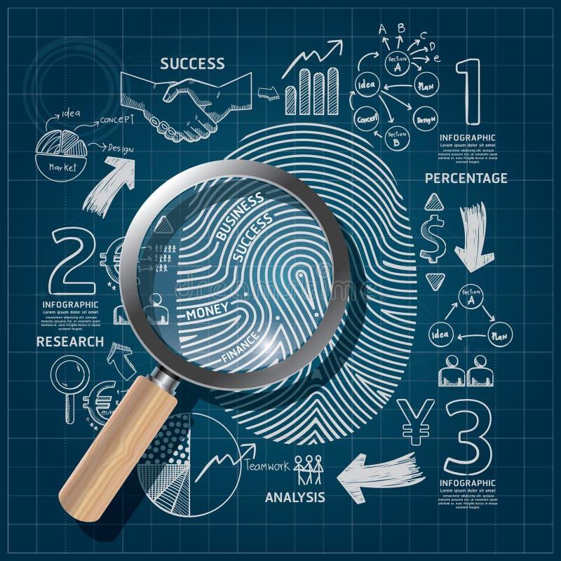 Business Fingerprint doodles line drawing blueprint success. stock illustration