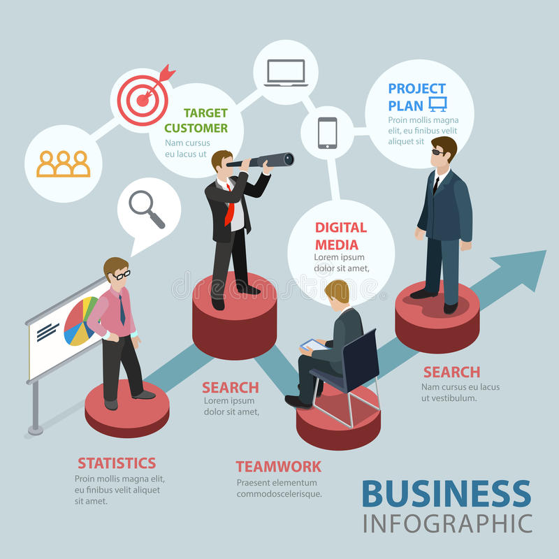 Business flat 3d isometric vector infographics: marketing stock illustration