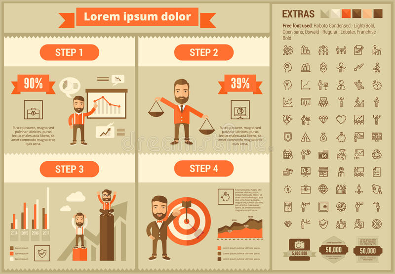 Business flat design Infographic Template. Business infographic template and elements. The template includes illustrations of hipster men and huge awesome set of royalty free illustration