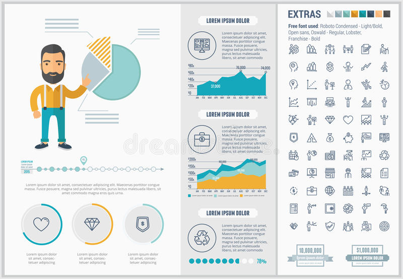 Business flat design Infographic Template. Business infographic template and elements. The template includes illustrations of hipster men and huge awesome set of stock illustration