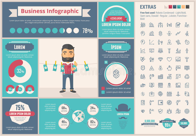 Business flat design Infographic Template. Business infographic template and elements. The template includes illustrations of hipster men and huge awesome set of vector illustration