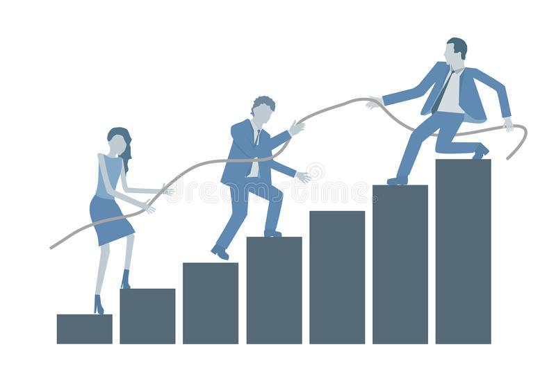 Business flat design vector growing chart with a leader helping colleagues to climb on top. vector illustration
