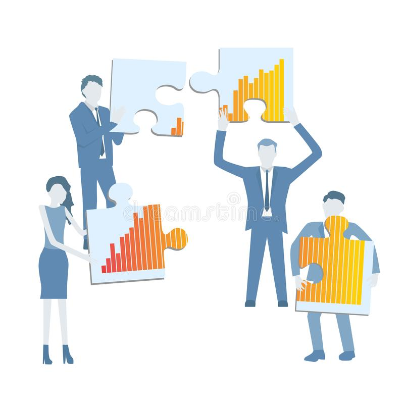 Business flat design vector with a team holding pieces of puzzle showing a grow chart diagram. vector illustration
