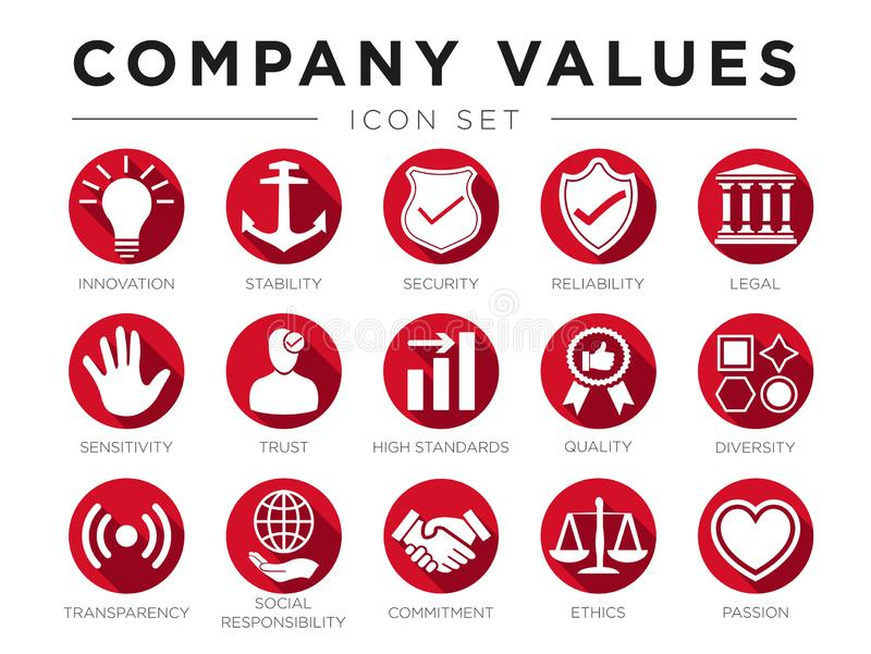 Business Flat Icon Set of Company Core Values. Innovation, Stability, Security, Reliability, Legal, Sensitivity, Trust, High. Business Flat Icon Set of Company royalty free illustration
