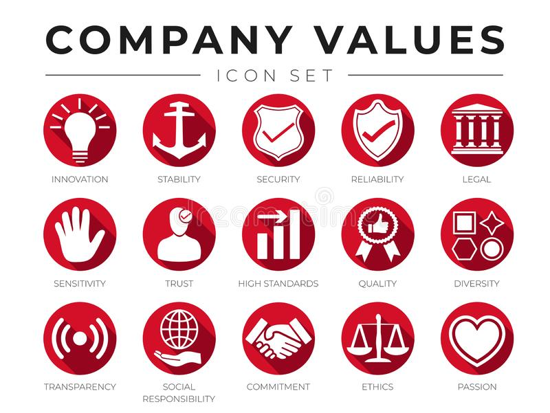 Business Flat Icon Set of Company Core Values. Innovation, Stability, Security, Reliability, Legal, Sensitivity, Trust, High stock illustration