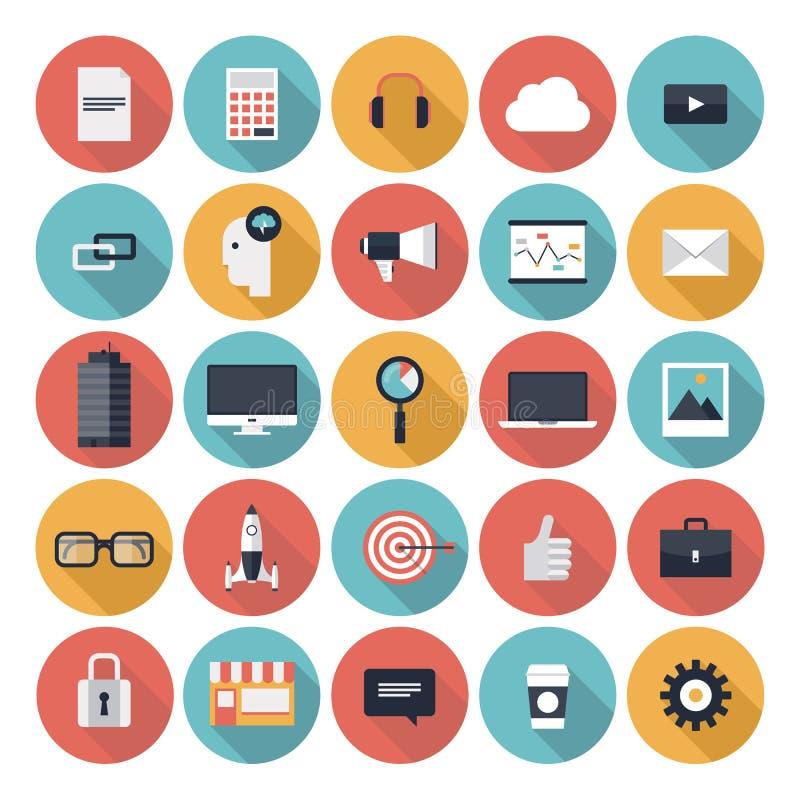 Business flat icons set royalty free illustration