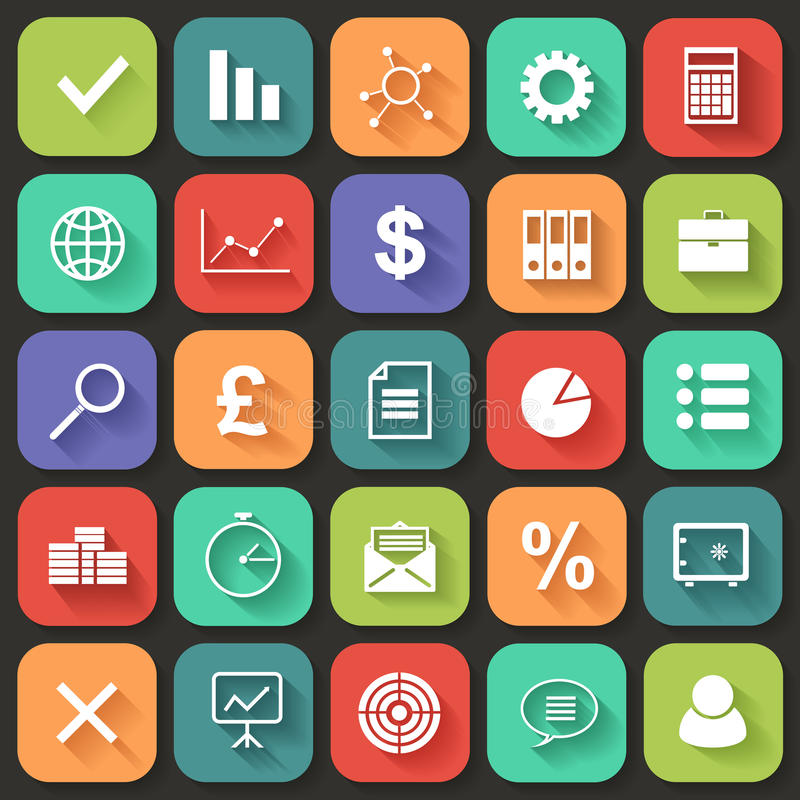 Business Flat icons set for Web and Mobile. Vector royalty free stock photos