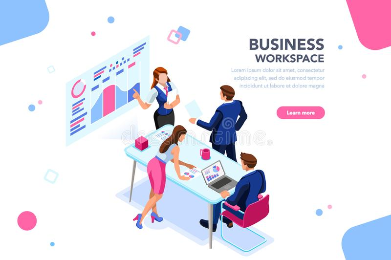 Business Flat Workflow Management Isometric Banner. Business workflow management, office situations. People workspace creative interact. Developer sitting with vector illustration