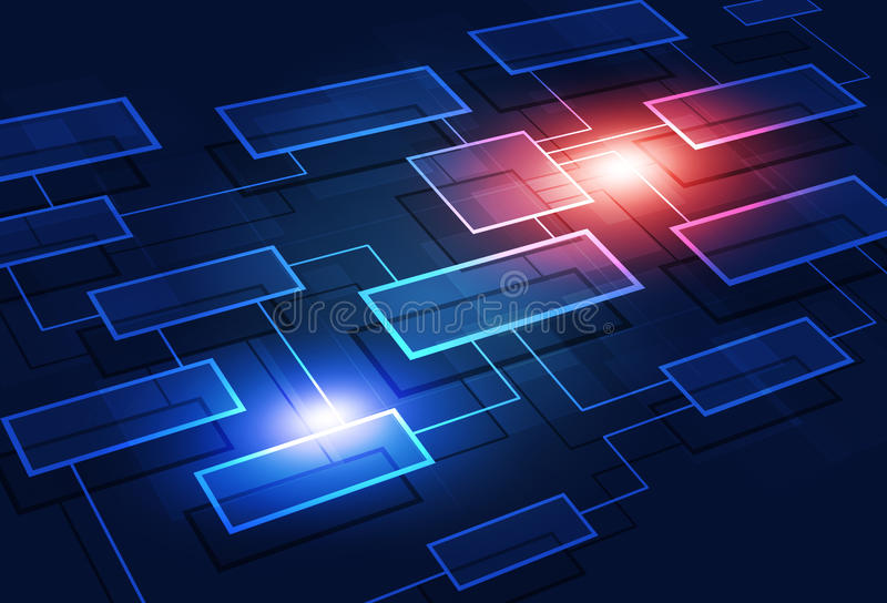 Business Flow Chart Abstract Background. Concept communication business flow chart on blue background royalty free illustration