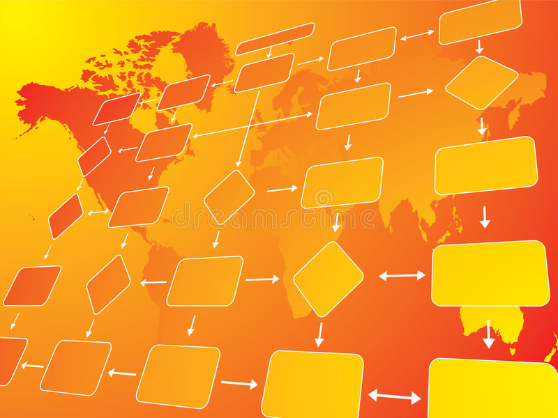 Business flow chart orange. An illustration of a business flow chart against a orange background vector illustration