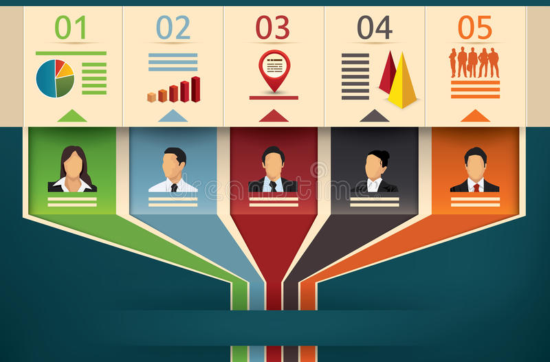Business flow chart of a team or management stock illustration
