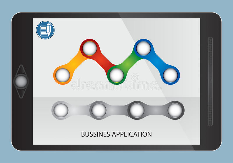Business flow and graph on tablet screen vector illustration