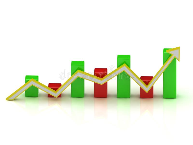 Business Fluctuations In The Graph Of Color Bars Stock Image